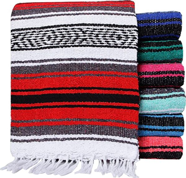 Cheap Wholesale Home Decor Soft Woven Designs Mexican Yoga Blanket Colorful Studio Falsa Mexican Blanket